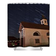 Star Trails Behind Vodice Chapel Shower Curtain