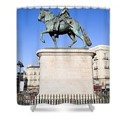 Statue Of King Charles IIi In Madrid Shower Curtain