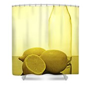 Still Life Of Bottles  And Lemons Shower Curtain