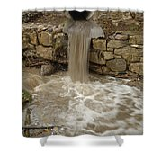 Storm Sewer Water Rushes Into A Stream Shower Curtain