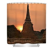 Stupa Chedi Of A Wat In Ayutthaya Thailand Shower Curtain