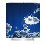 Sunlit Fluffy White Clouds In A Blue Shower Curtain