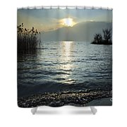 Sunset Over An Alpine Lake Shower Curtain