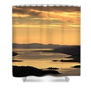 Sunset Over Water, Argyll And Bute Shower Curtain by John Short