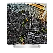 Sunset Please On The Rocks Shower Curtain