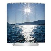 Sunshine Over An Alpine Lake Shower Curtain
