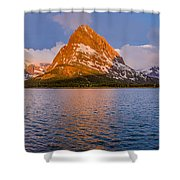 Swiftcurrent Lake Panorama Shower Curtain