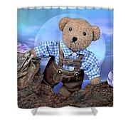Teddy On Tour Shower Curtain
