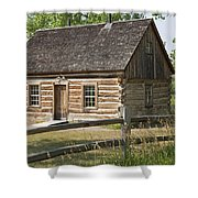 Teddy Roosevelt's Maltese Cross Log Cabin Shower Curtain