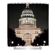 Texas Capitol Building At Night - Vert Shower Curtain