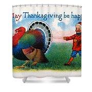 Thanksgiving Card, 1900 Shower Curtain