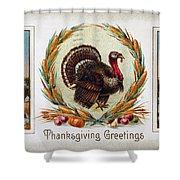 Thanksgiving Card, 1910 Shower Curtain