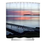The Dock At Traders Bay Lodge On Leech Shower Curtain