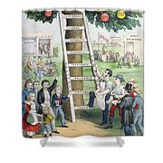 The Ladder Of Fortune Shower Curtain by Currier and Ives