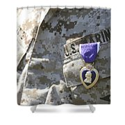 The Purple Heart Award Hangs Shower Curtain