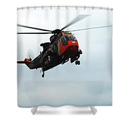 The Sea King Helicopter In Use Shower Curtain
