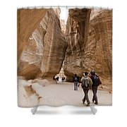 The Slot Canyons Leading Into Petra Shower Curtain
