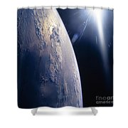 The Sun Shining On Planet Earth Shower Curtain