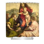 The Virgin And Child With A Saint And An Angel Shower Curtain by Andrea del Sarto