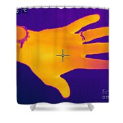 Thermogram Of A Hand Shower Curtain by Ted Kinsman