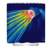 Thermogram Of A Shower Head Shower Curtain by Ted Kinsman