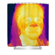 Thermogram Of A Woman Shower Curtain