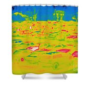 Thermogram Of Cars In A Parking Lot Shower Curtain