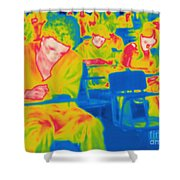 Thermogram Of Students In A Lecture Shower Curtain