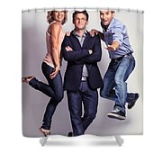 Three Fashionably Dressed Young People Shower Curtain