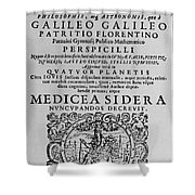 Title Page Of Galileos Book Shower Curtain
