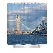 Tower Bridge And Hms Belfast Shower Curtain