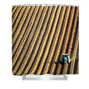 Tractor Plowing A Field Shower Curtain