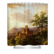 Travellers On A Path In An Extensive Rhineland Landscape Shower Curtain