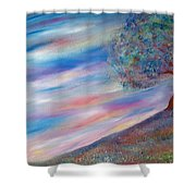 Tree On The Hill Shower Curtain