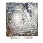 Tropical Cyclone Yasi Over Australia Shower Curtain