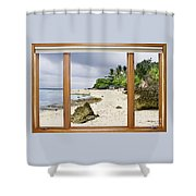 Tropical White Sand Beach Paradise Window Scenic View Shower Curtain
