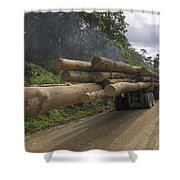 Truck With Timber From A Logging Area Shower Curtain