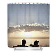 Two Friends Enjoy The Sunset Shower Curtain