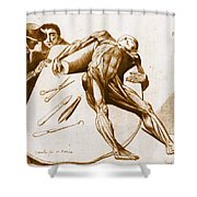 Two Gentlemen Contemplating A Cadaver Shower Curtain by Science Source