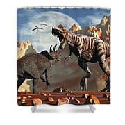 Tyrannosaurus Rex And Triceratops Meet Shower Curtain