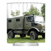 Unimog Truck Of The Belgian Army Shower Curtain