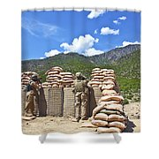 U.s. Army Soldier And An Afghan Shower Curtain