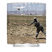 U.s. Army Soldier Launches An Rq-11 Shower Curtain