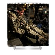 U.s. Army Specialist Practices Giving Shower Curtain