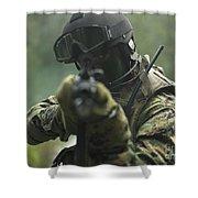 U.s. Marine During Combat Operations Shower Curtain