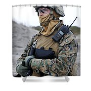 U.s. Marine Provides Security Shower Curtain