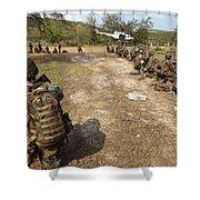 U.s. Marines Provide Security Shower Curtain