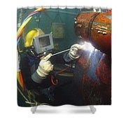 U.s. Navy Diver Welds A Repair Patch Shower Curtain