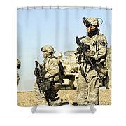 U.s. Soldiers Conduct A Combat Patrol Shower Curtain