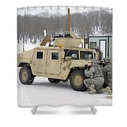 U.s. Soldiers Take Cover Shower Curtain